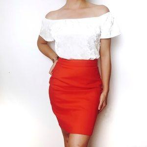 H&M Red Orange Pencil Skirt